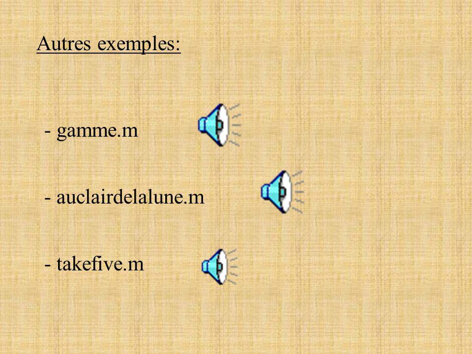 Autres exemples: - gamme.m - auclairdelalune.m - takefive.m