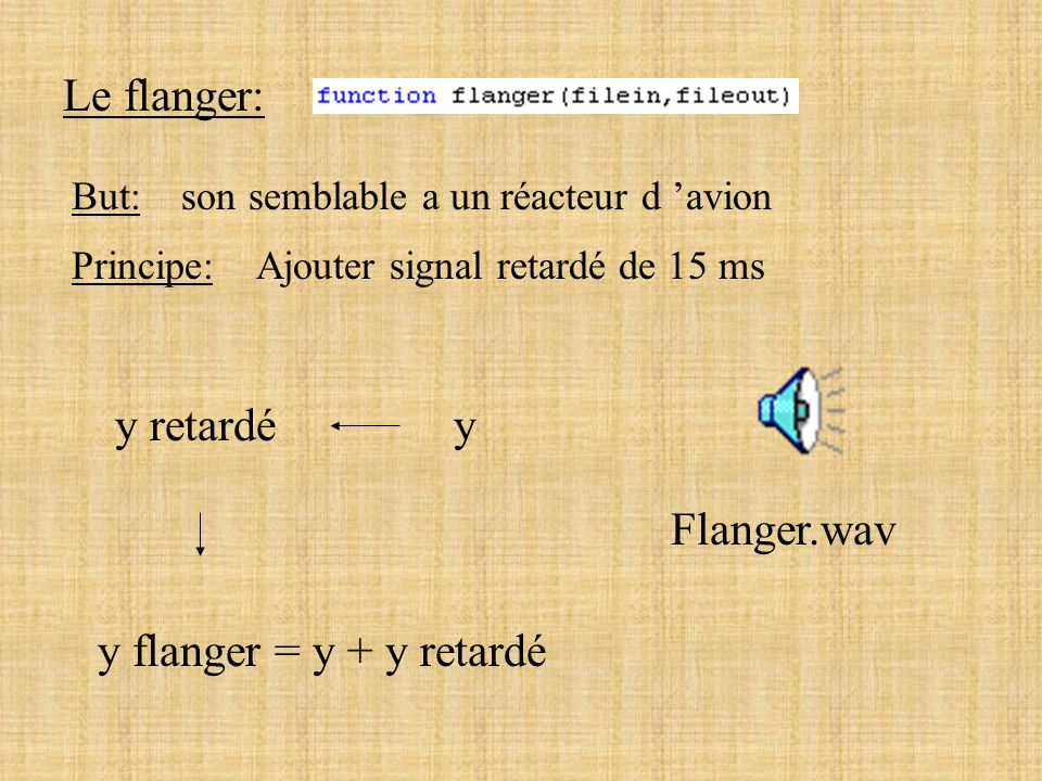 Le flanger: y retardé y Flanger.wav y flanger = y + y retardé