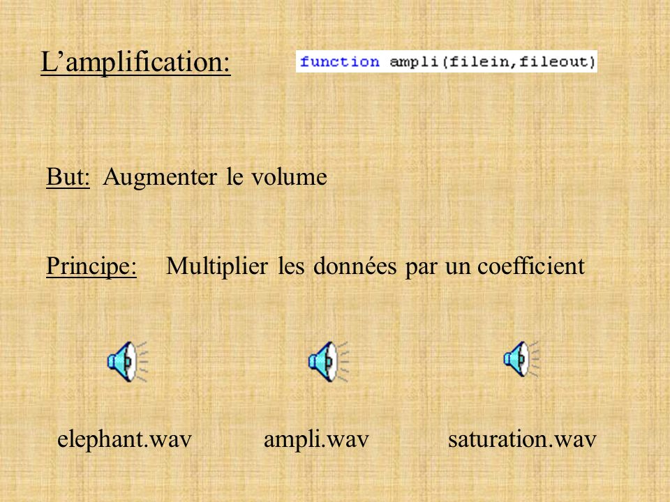 L'amplification: But: Augmenter le volume