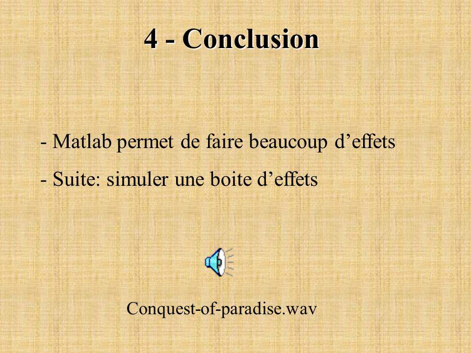 4 - Conclusion - Matlab permet de faire beaucoup d'effets