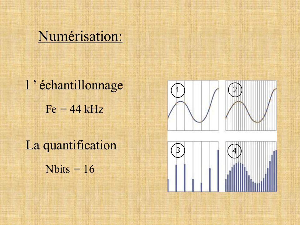 Numérisation: l ' échantillonnage La quantification Fe = 44 kHz