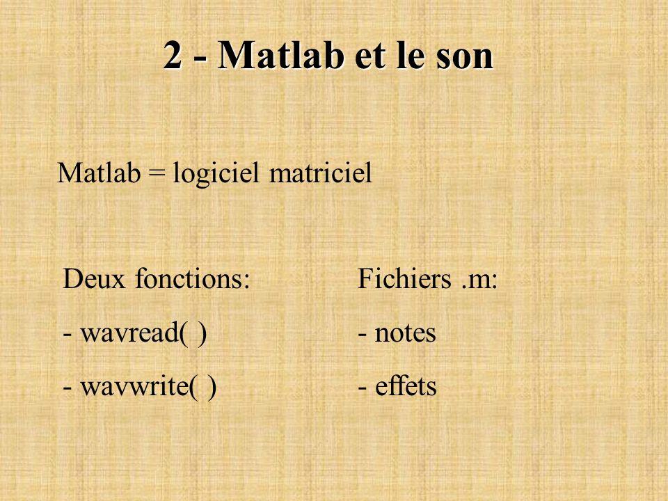 2 - Matlab et le son Matlab = logiciel matriciel Deux fonctions: