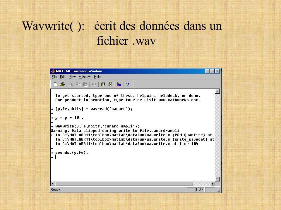 Wavwrite( ): écrit des données dans un fichier .wav