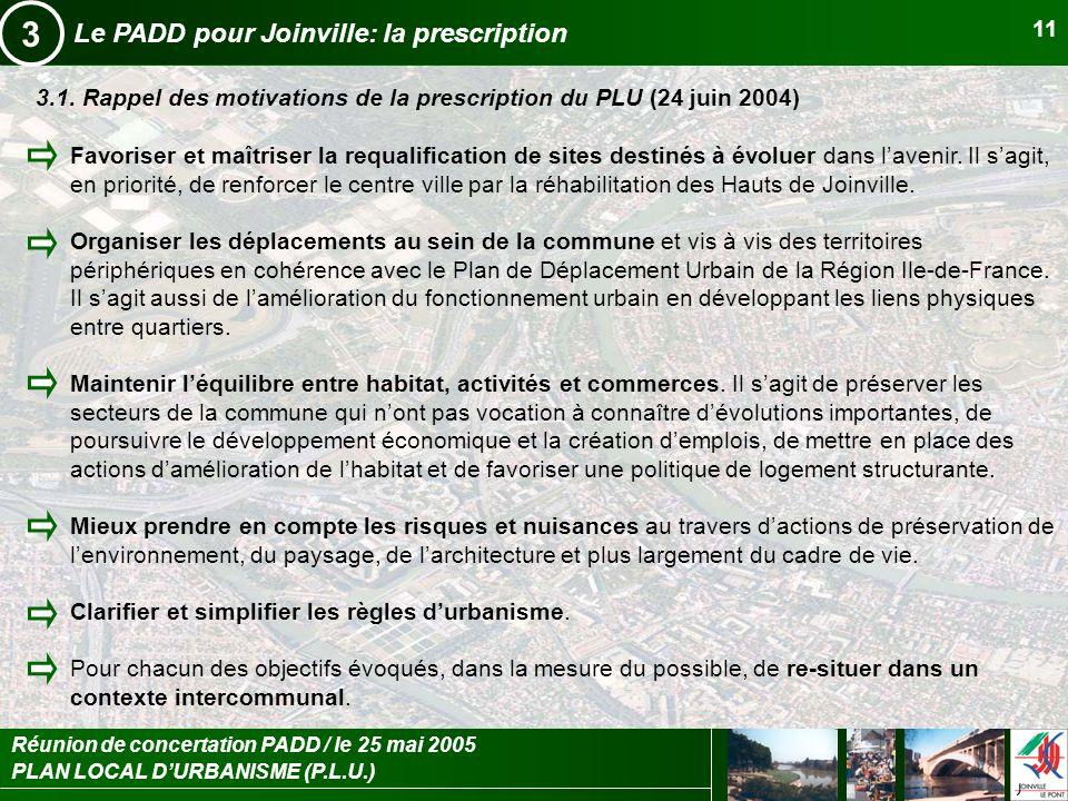 3 Le PADD pour Joinville: la prescription