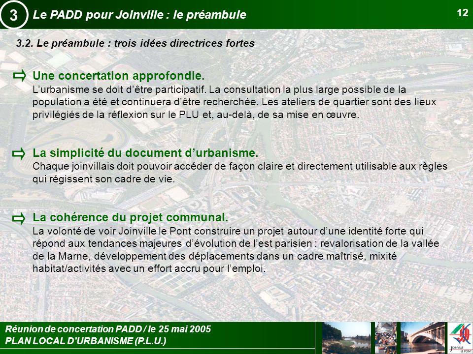 3 Le PADD pour Joinville : le préambule Une concertation approfondie.