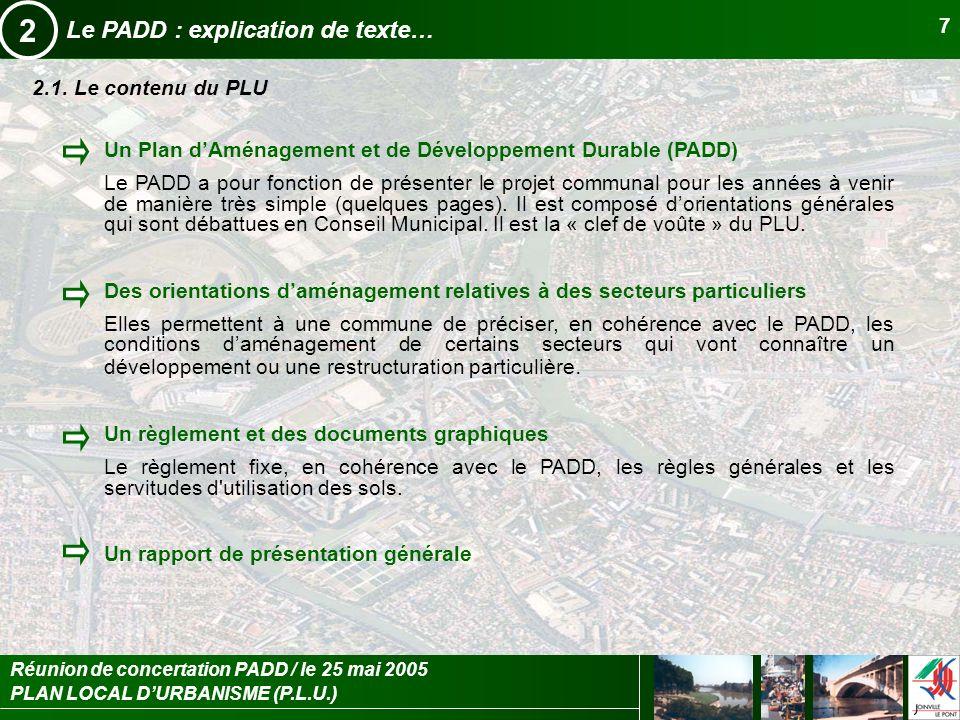 2 Le PADD : explication de texte… 2.1. Le contenu du PLU