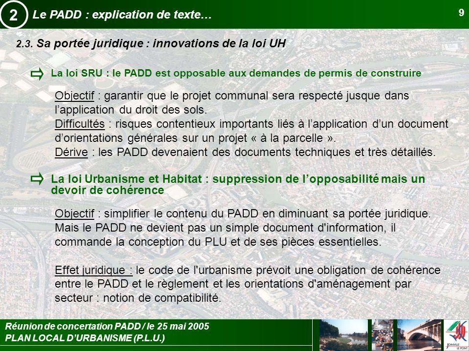 2 Le PADD : explication de texte…