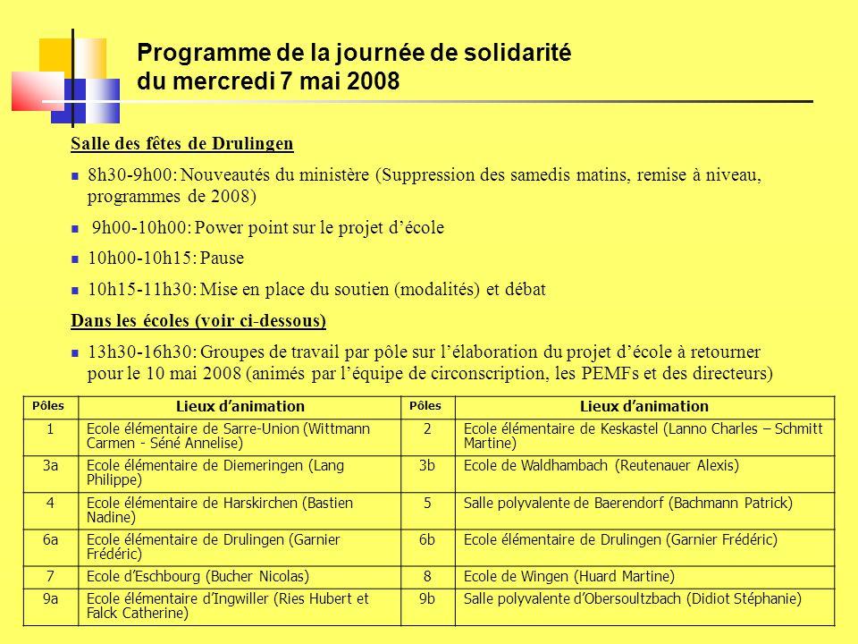 Programme de la journée de solidarité du mercredi 7 mai 2008