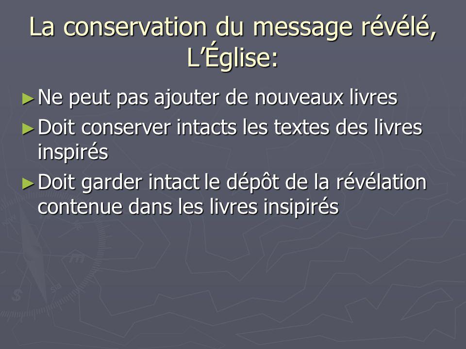 La conservation du message révélé, L'Église: