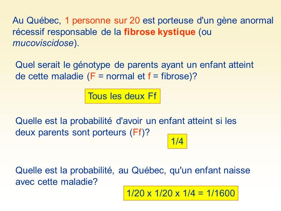 Au Québec, 1 personne sur 20 est porteuse d un gène anormal récessif responsable de la fibrose kystique (ou mucoviscidose).