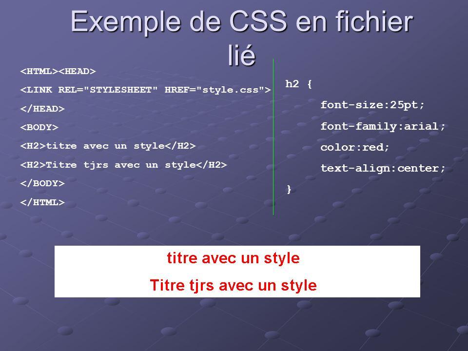 Exemple de CSS en fichier lié