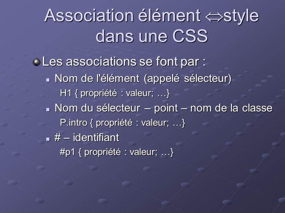 Association élément style dans une CSS