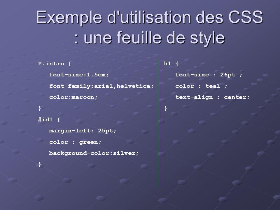 Exemple d utilisation des CSS : une feuille de style