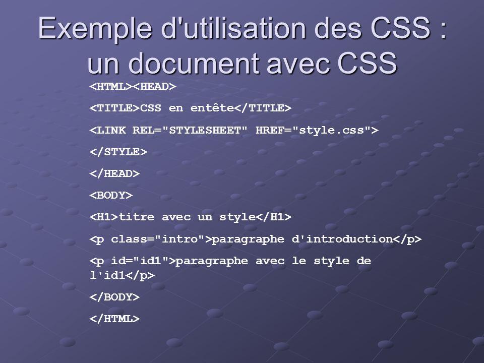Exemple d utilisation des CSS : un document avec CSS