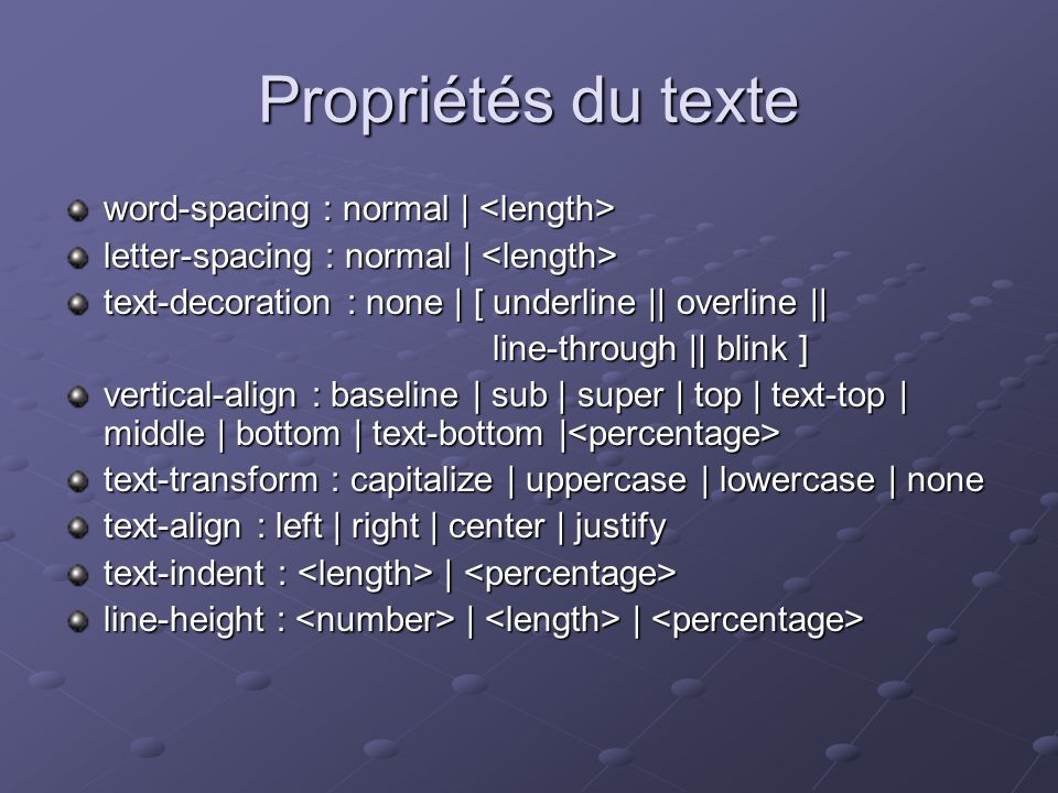 Propriétés du texte word-spacing : normal | <length>