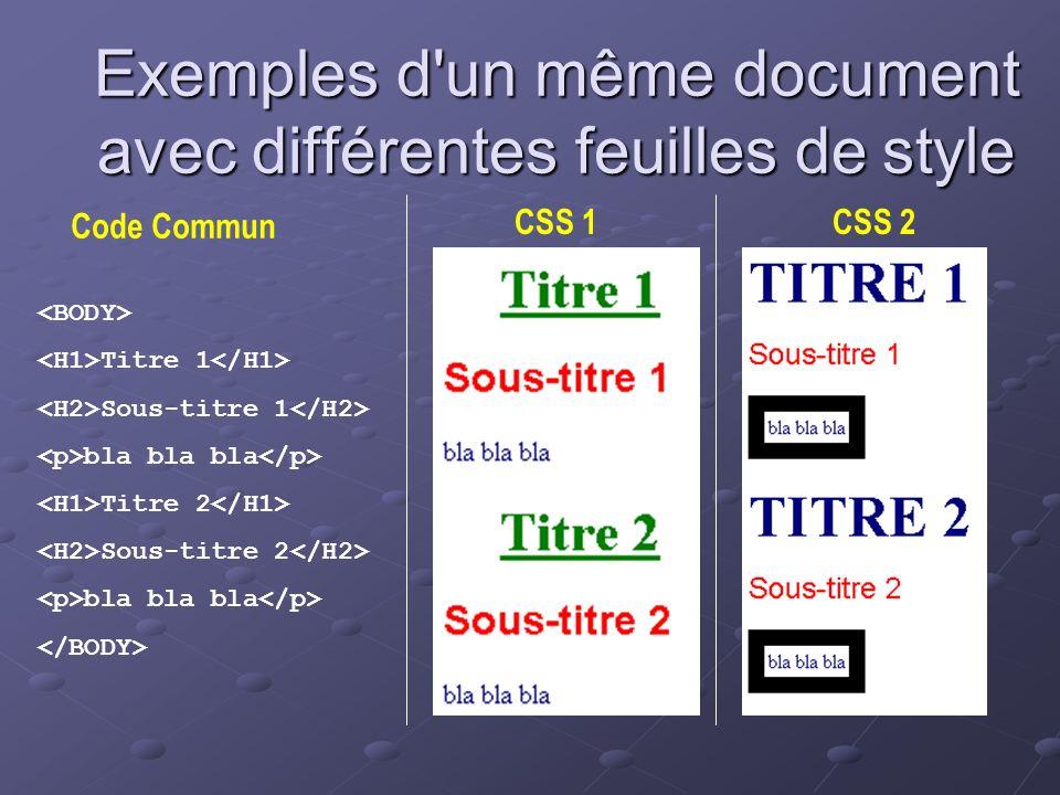 Exemples d un même document avec différentes feuilles de style
