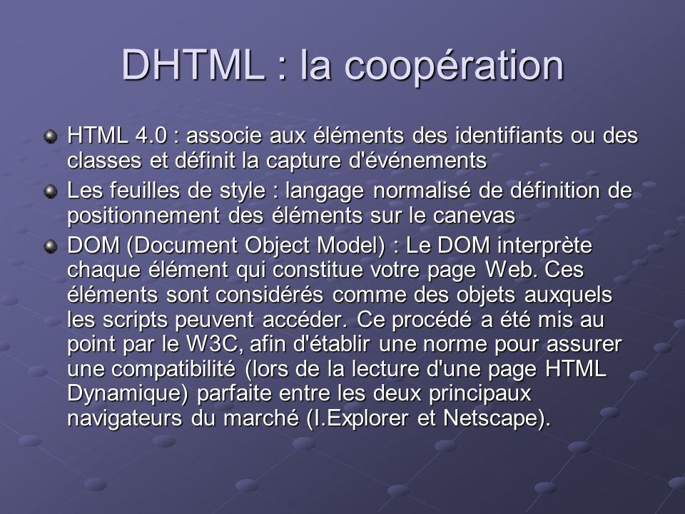 DHTML : la coopération HTML 4.0 : associe aux éléments des identifiants ou des classes et définit la capture d événements.