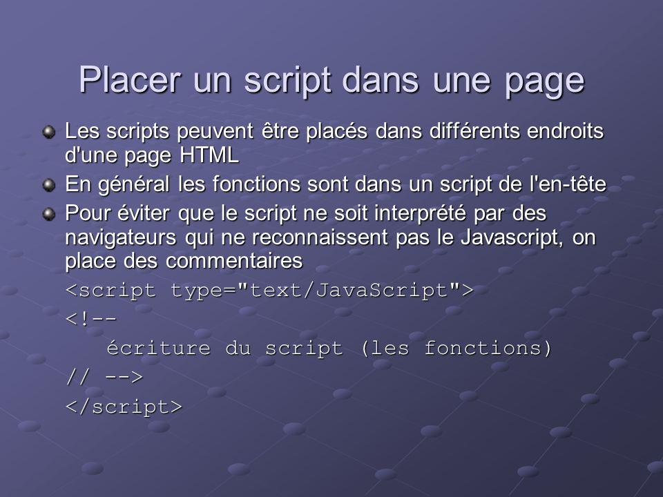 Placer un script dans une page