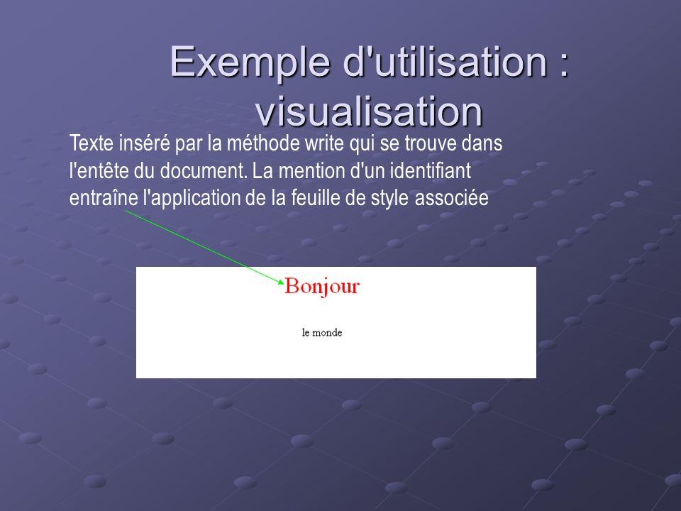 Exemple d utilisation : visualisation