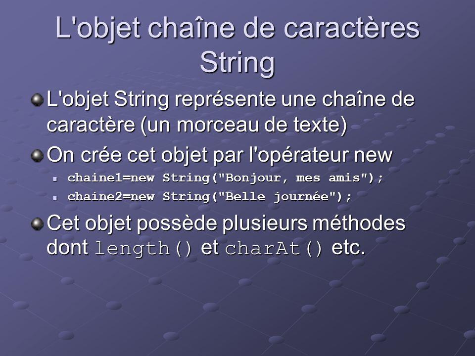 L objet chaîne de caractères String
