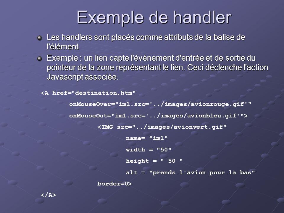 Exemple de handler Les handlers sont placés comme attributs de la balise de l élément.