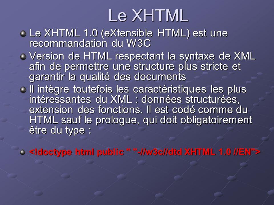 Le XHTML Le XHTML 1.0 (eXtensible HTML) est une recommandation du W3C