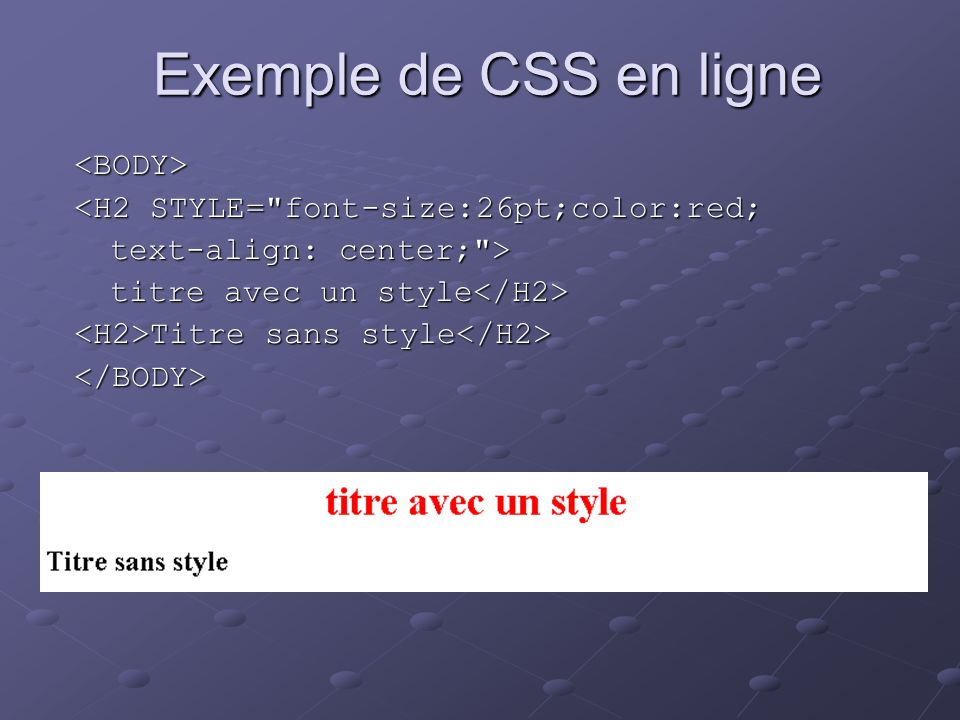 Exemple de CSS en ligne <BODY>