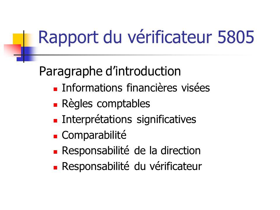 Rapport du vérificateur 5805