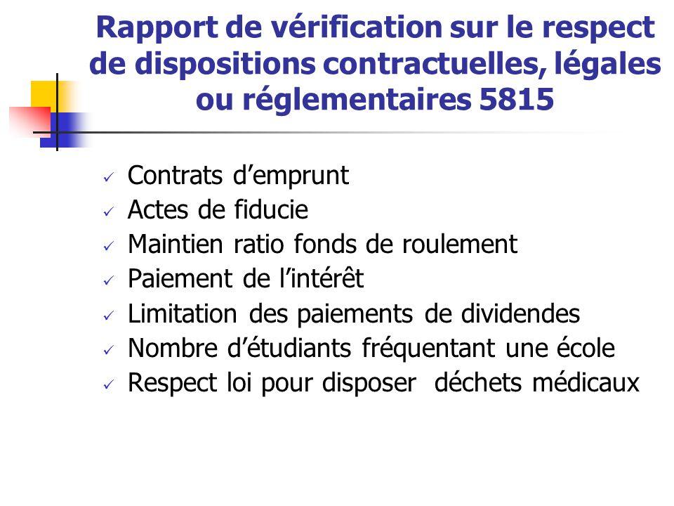Rapport de vérification sur le respect de dispositions contractuelles, légales ou réglementaires 5815