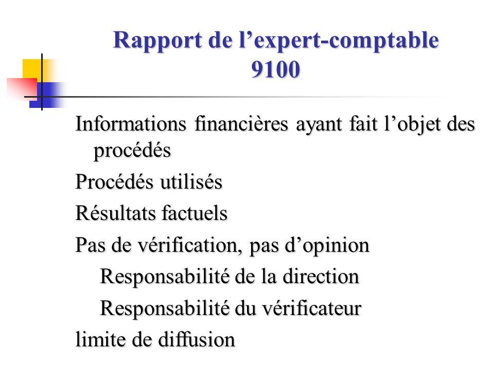 Rapport de l'expert-comptable 9100