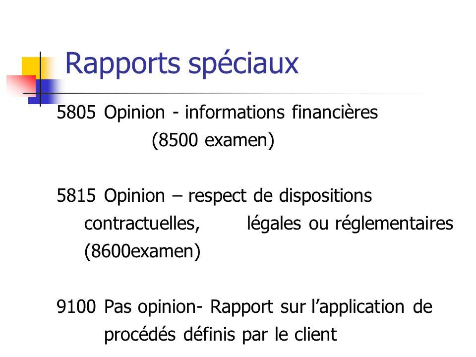 Rapports spéciaux 5805 Opinion - informations financières