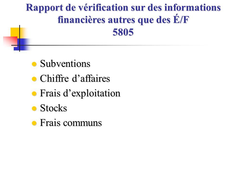 Rapport de vérification sur des informations financières autres que des É/F 5805