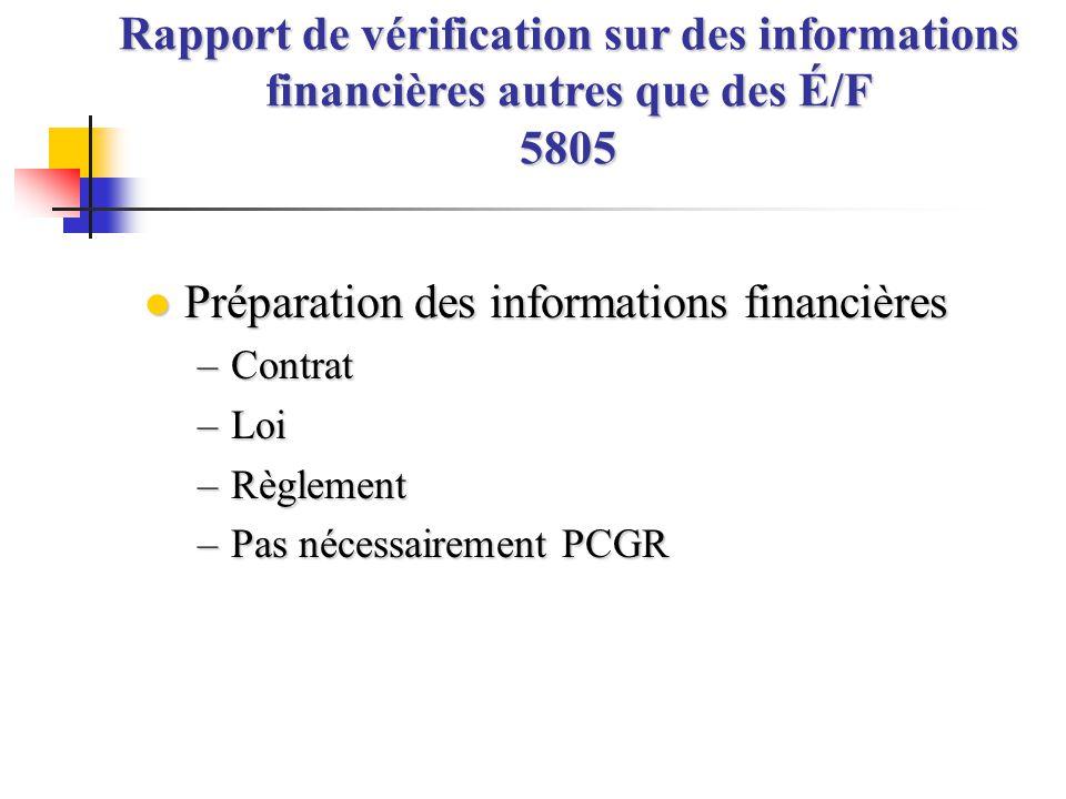 Préparation des informations financières