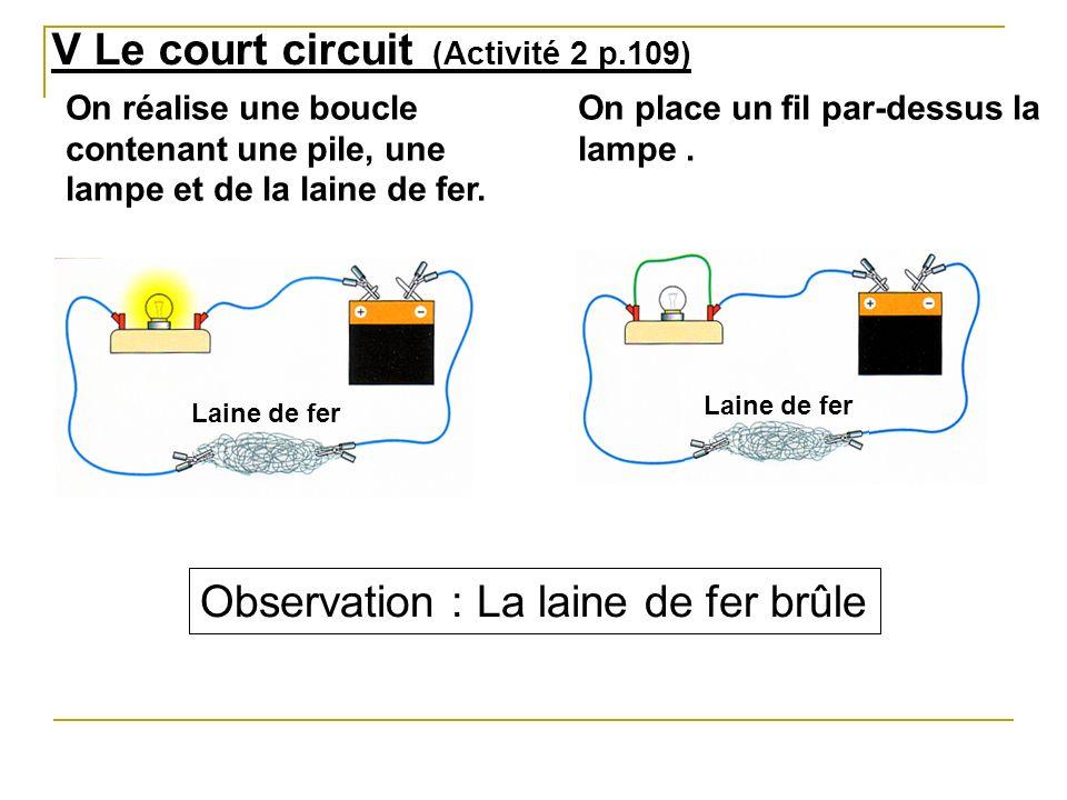 V Le court circuit (Activité 2 p.109)
