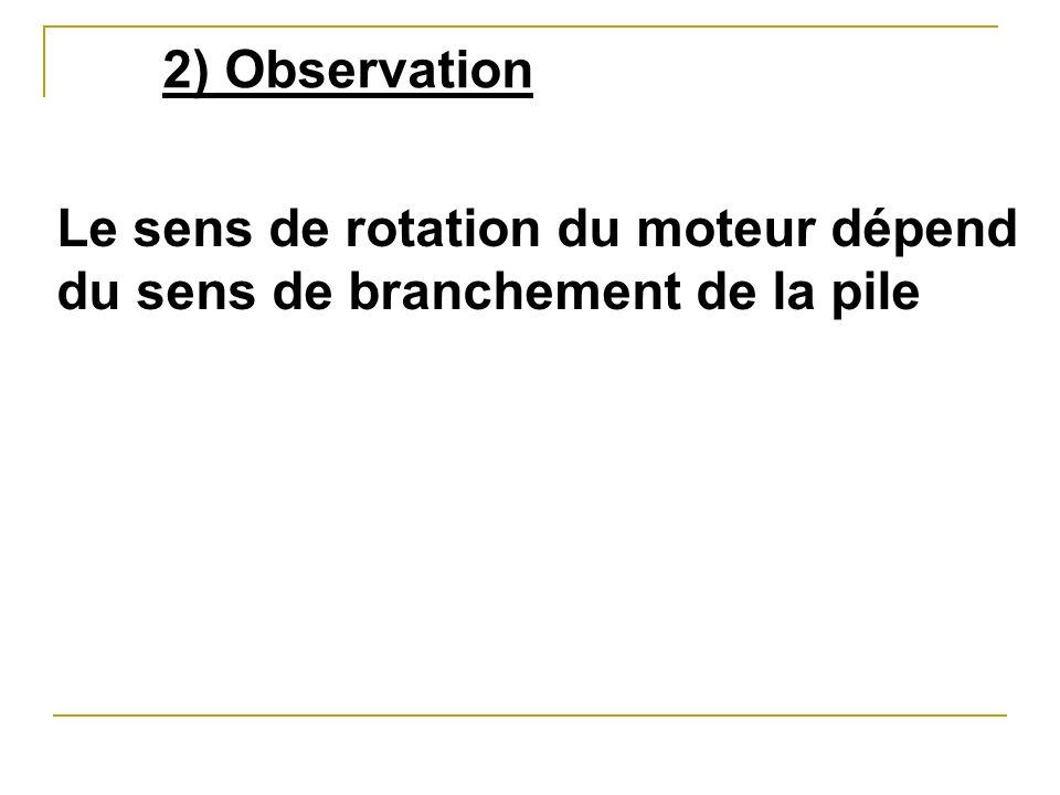 2) Observation Le sens de rotation du moteur dépend du sens de branchement de la pile
