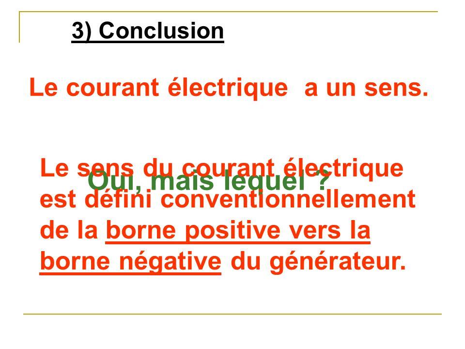 Oui, mais lequel Le courant électrique a un sens.