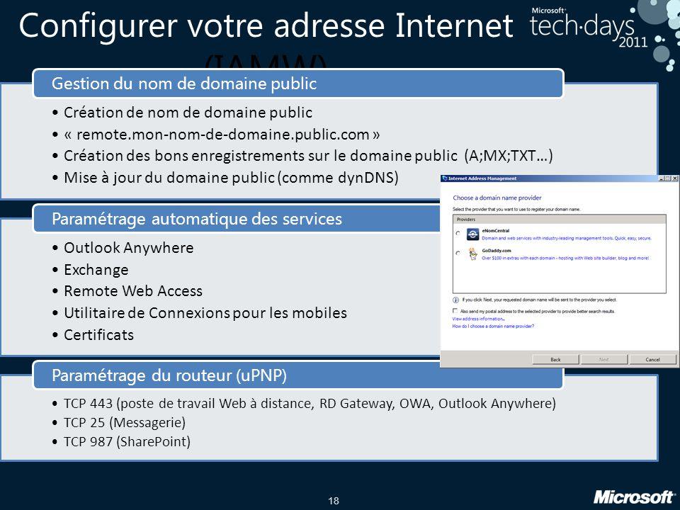 Configurer votre adresse Internet (IAMW)