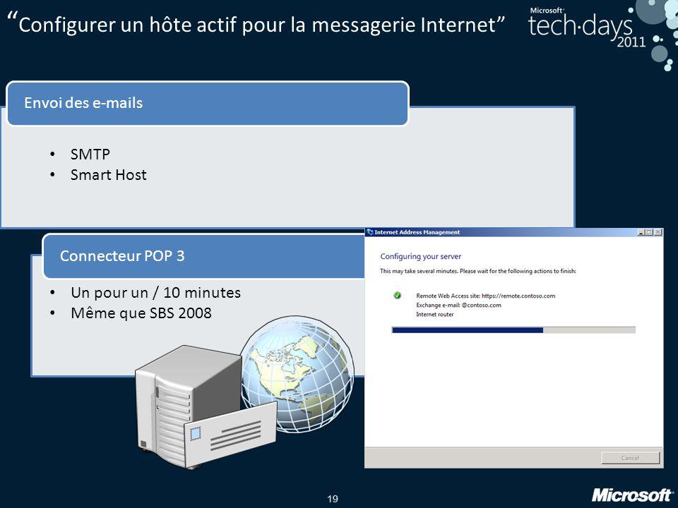 Configurer un hôte actif pour la messagerie Internet