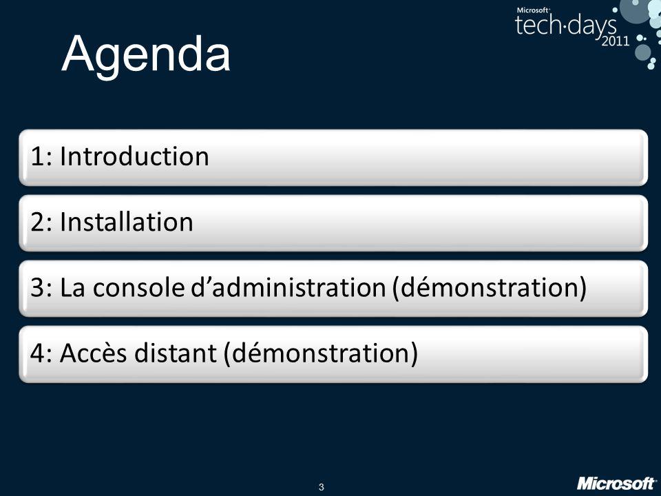 Agenda 1: Introduction 2: Installation