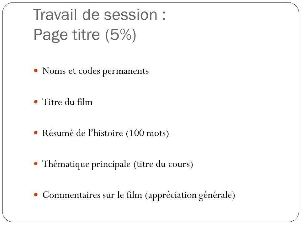 Travail de session : Page titre (5%)