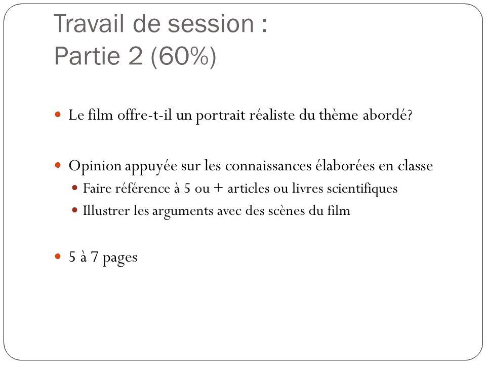 Travail de session : Partie 2 (60%)