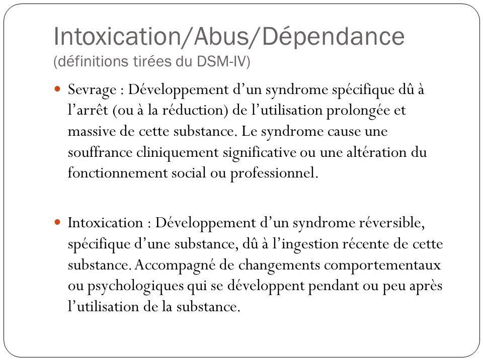 Intoxication/Abus/Dépendance (définitions tirées du DSM-IV)