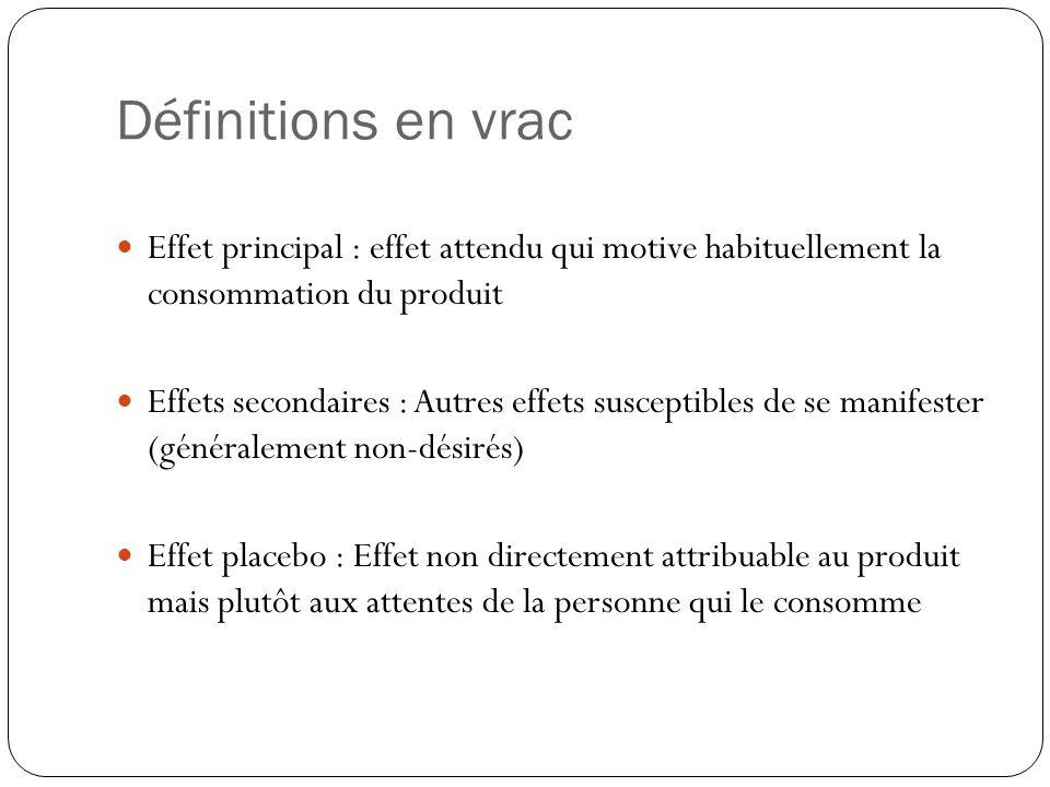 Définitions en vrac Effet principal : effet attendu qui motive habituellement la consommation du produit.