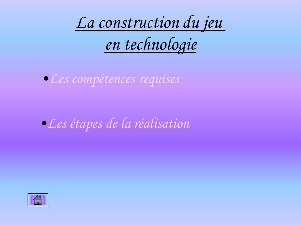 La construction du jeu en technologie Les compétences requises