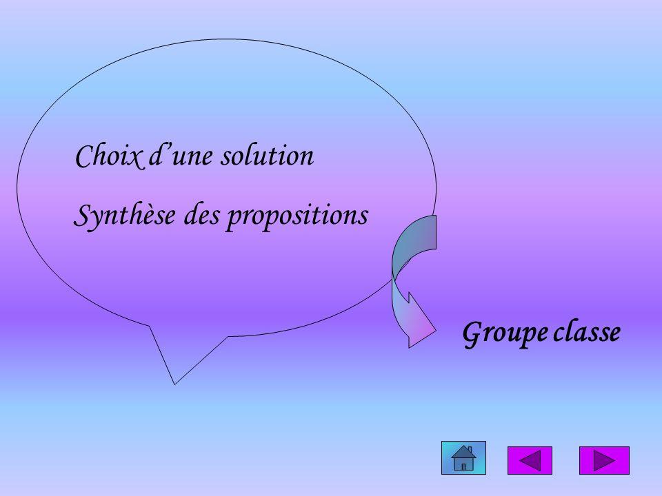 Choix d'une solution Synthèse des propositions Groupe classe