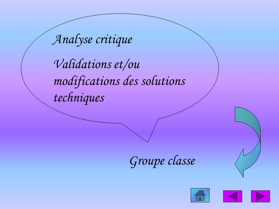 Analyse critique Validations et/ou modifications des solutions techniques Groupe classe