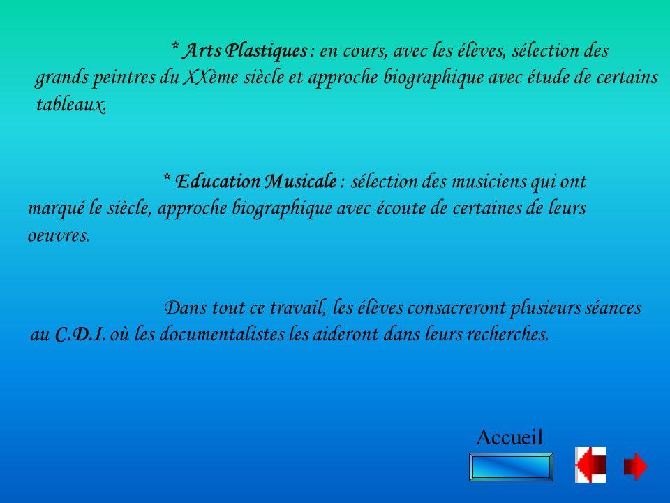 * Arts Plastiques : en cours, avec les élèves, sélection des grands peintres du XXème siècle et approche biographique avec étude de certains tableaux.