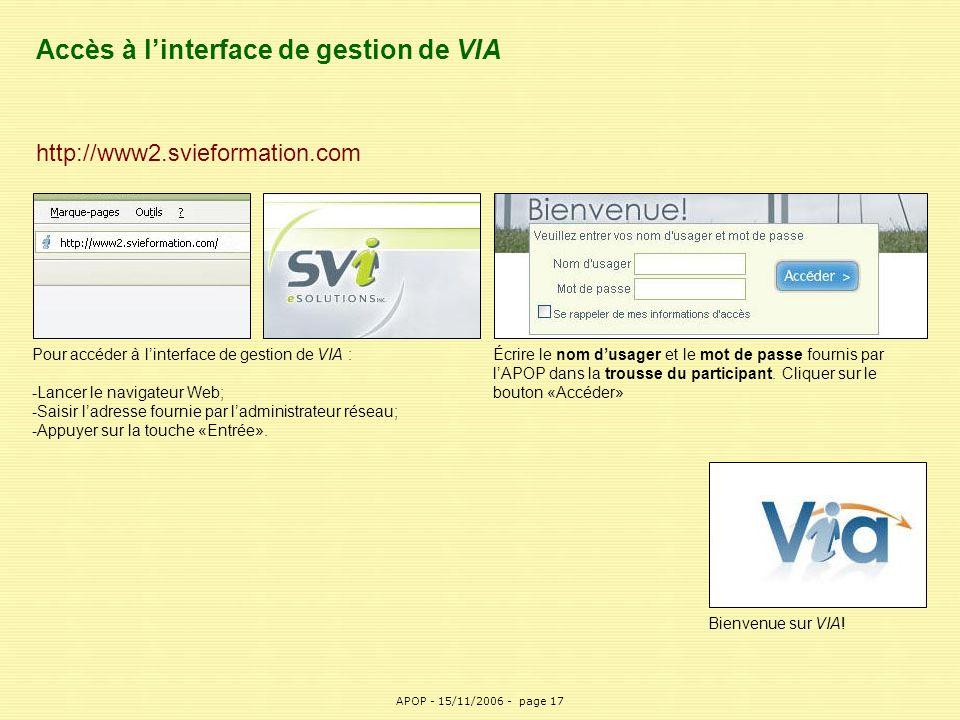 Accès à l'interface de gestion de VIA