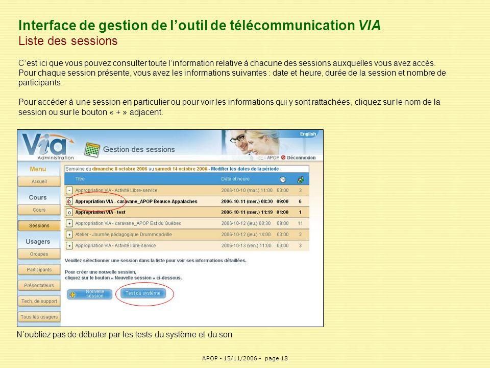 Interface de gestion de l'outil de télécommunication VIA