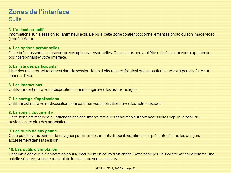 Zones de l'interface Suite APOP 3. L'animateur actif